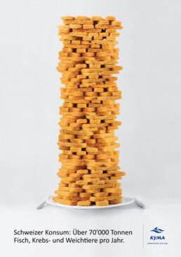 Turm aus Fischstäbchen | kelonya.ch